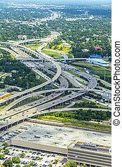 infrastructure, rues, aérien, autoroute, moderne, ponts, houston