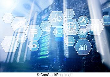 infrastructure, salle, données, communication., serveurs, technologie, nuage