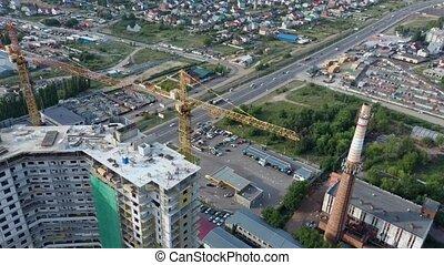 infrastructure., secteur, nouveau, sous, développer, construction, gratte-ciel, vert, résidentiel, complexe