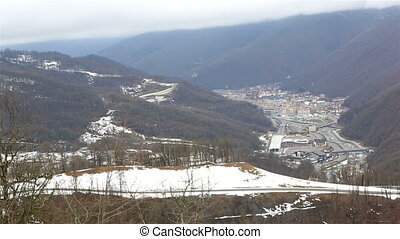Infrastructure ski resort in the valley of river Mzymta -...