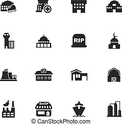 infrastucture, 의, 도시, 아이콘, 세트