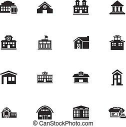 infrastucture, de, cidade, ícones, jogo