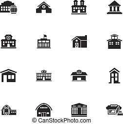 infrastucture, de, la ciudad, iconos, conjunto