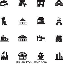 infrastucture, de, ville, icônes, ensemble