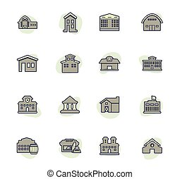Infrastucture of the city color vector icons for user interface design