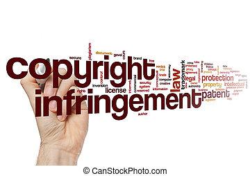 infringement, mot, droit d'auteur, nuage