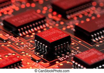 infromation, technologie, panneau ordinateur, à, transistor, et, feu rouge