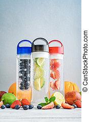 Infused detox water in bottles