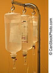 infusion, flaschen, hängen, metallbehälter
