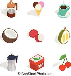 Infusion icons set, isometric style