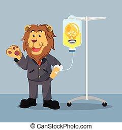 infuso, bulbo, leone, affari, prendere
