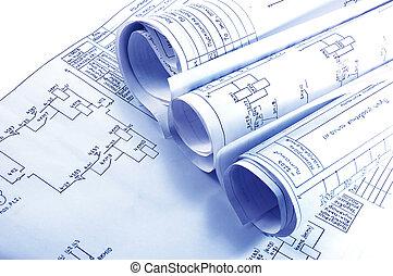 ingénierie, électricité, plan, rouleaux