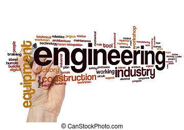 ingénierie, concept, mot, nuage