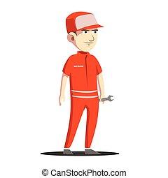 ingénierie, conception, mécanicien, illustration, homme