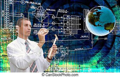 ingénierie, concevoir, communication.engineer