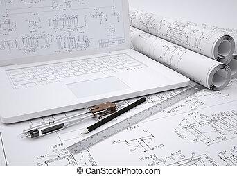ingénierie, dessins, ordinateur portable, défilements