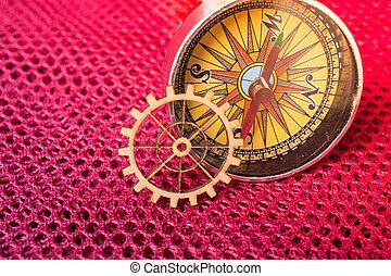 ingénierie, engrenage, compas, roue, concept