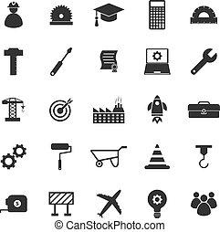 ingénierie, fond blanc, icônes