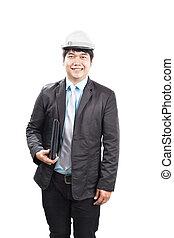 ingénierie, homme, tenue, ordinateur portatif, et, porter, blanc, sécurité