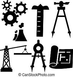 ingénierie, icône, ensemble