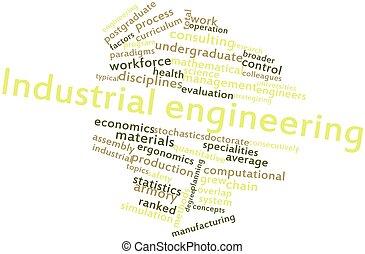 ingénierie, industriel, mot, nuage