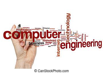 ingénierie, informatique, mot, nuage
