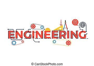 ingénierie, mot, illustration