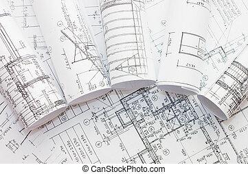 ingénierie, rouleaux, dessins