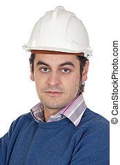 ingénieur, à, blanc, casque