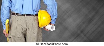 ingénieur, à, casque, et, blueprint.