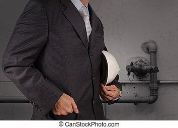 ingénieur, à, les, tuyauterie, de, une, gaspillage industriel, eau, nettoyage, facilité, comme, concept