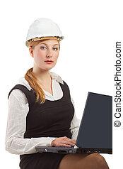 ingénieur, à, ordinateur portable, isolé, blanc
