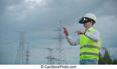 ingénieur, casque, puissance, tours, énergie, réalité virtuelle, milieu, plan, fond, ligne, mâle, blanc, a haute tension, lunettes
