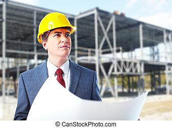 ingénieur, constructeur, à, a, project.