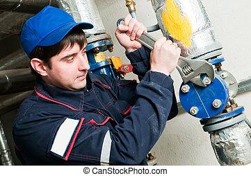 ingénieur entretien, dans, chaufferie
