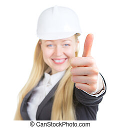 ingénieur, femme, haut, pouces