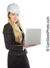 ingénieur, femme, ordinateur portable