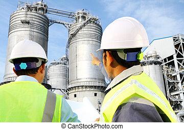 ingénieur, huile, raffinerie gaz