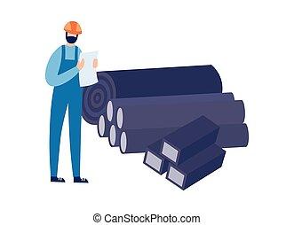 ingénieur, isolated., acier, fonderie, illustration, vecteur, ou, usine, rouler, plat