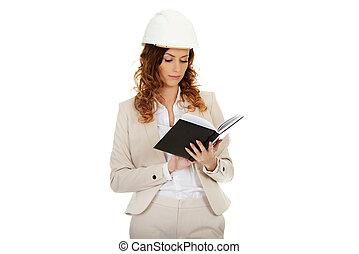 ingénieur, lecture femme, note.