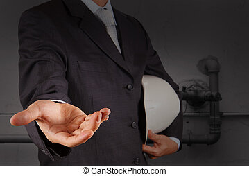 ingénieur, main ouverte, à, les, tuyauterie, de, une, gaspillage industriel, eau, nettoyage, facilité, comme, concept