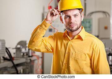 ingénieur, pendant, travail