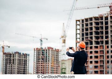 ingénieur, photo, site construction, prendre