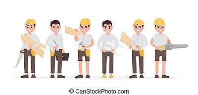 ingénieur, plat, style, joiners, beaucoup, woodworkers., vecteur, divers, illustration, contremaître, équipe, charpentiers