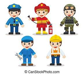 ingénieur, professions., différent, ensemble, fireman., soldat, plat, docteur, police, illustration, vecteur, gosse, style, mécanicien