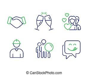 ingénieur, recherche, délicieux, icônes, gens, set., poignée main, couple, vecteur, sourire, champagne, signs., lunettes