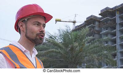 ingénieur, sur, soir, architecte, directeur, construction, progrès, dit, casque, homme