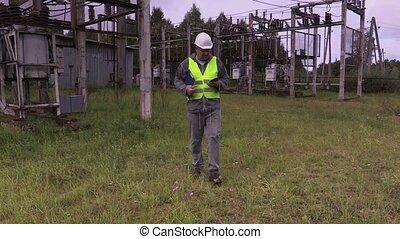 ingénieur, tâche, électricien, donne