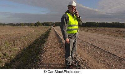 ingénieur, téléphone, construction, route, conversation