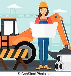 ingénieur, tenue, blueprint.